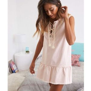 Aerie American Eagle Denim Shift Dress Lace Up
